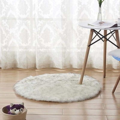 Round Sheepskin Faux Fur Rug - White Grey Top / 60cm