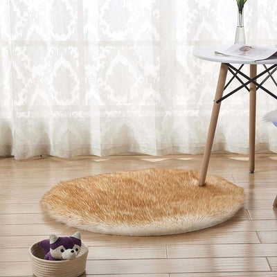 Round Sheepskin Faux Fur Rug - White Yellow top / 60cm
