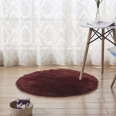 Round Sheepskin Faux Fur Rug - Wine Red / 60cm
