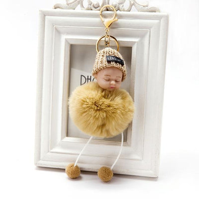 Adorable Fur Ball Doll Key Rings - Yellow