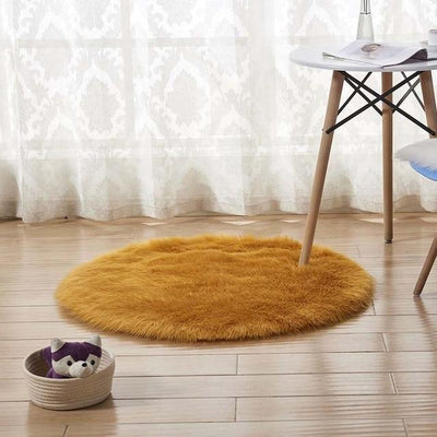 Round Sheepskin Faux Fur Rug - Yellow Camel / 60cm