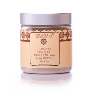 Moroccan Ghassoul Mineral Clay powder Mask for skin & Hair 8 oz