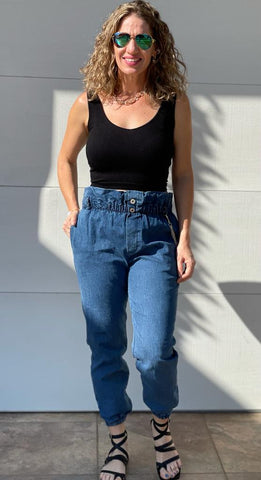 High Waisted Denim Jogger