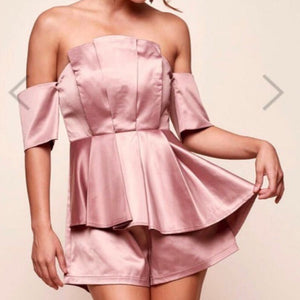 Ally Off Shoulder Satin Mocha Romper