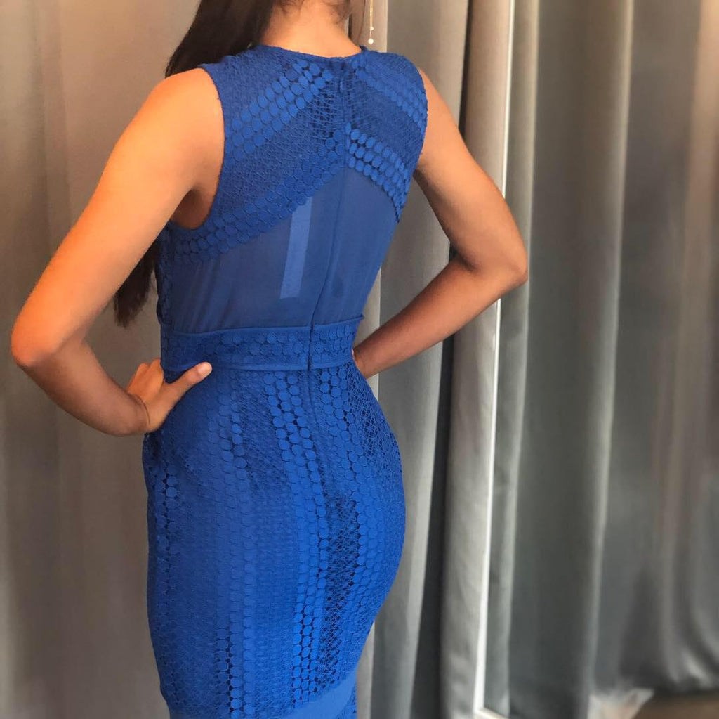 Royal Blue Lace Mini Dress