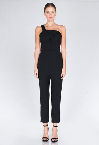 Adria  Woven One Shoulder Black Jumpsuit