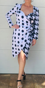 Mix Patterns Black & White Polka Dots Dress
