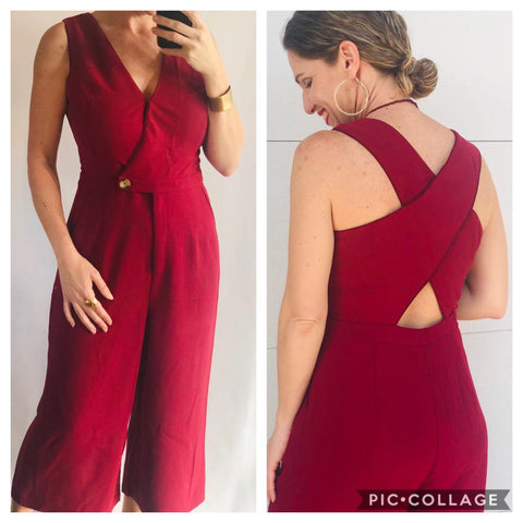 Burgundy Cullotes Jumpsuit