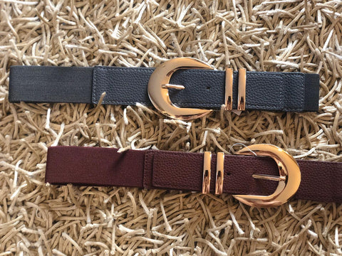 Gold Buckle Elastic Belt