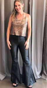 Flare Black Leather Pant