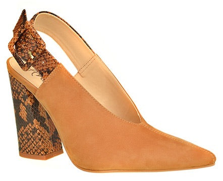 Dress Sling Back pump nubuck Amarento Snake Caramel