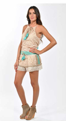 Gipsy Nude and Teal Short Set