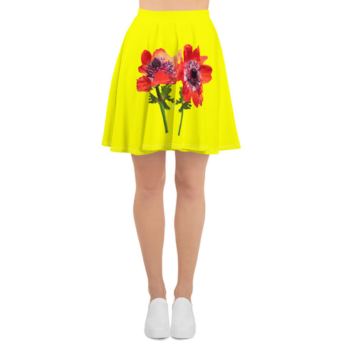 Minimalist Bouquet Yellow Skater Skirt