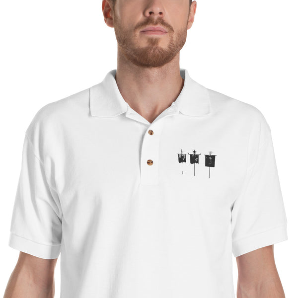 Gathered Waning Embroidered Polo Shirt