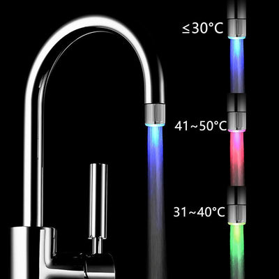 Glow LED Water Stream Faucet Tap Temperature Sensor