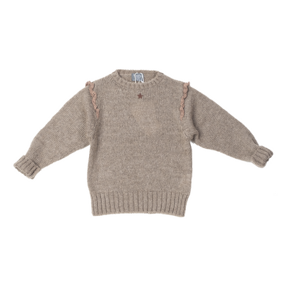 Knitted Sweater with Lace On Shoulders - Brown