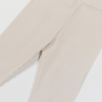 Beige Cotton Leggings - Kids Edition