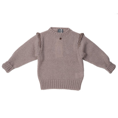 Knitted Sweater with Lace On Shoulders - Pink - Kids Edition