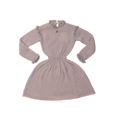 Knitted Elastic Waistband Dress - Pink