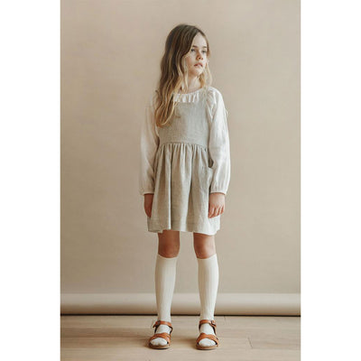 Ines Pinafore Dress - Oatmeal - Kids Edition