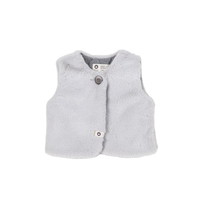 Light Gray Winter Fur Waistcoat - Arim Closet, Carried by Kids Edition, Vancouver, Canada