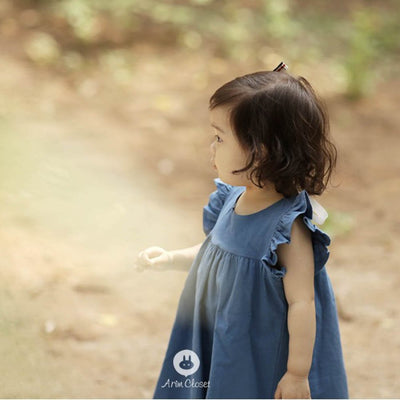 Blue Cotton and Linen Dress - Arim Closet, Carried by Kids Edition, Vancouver, Canada