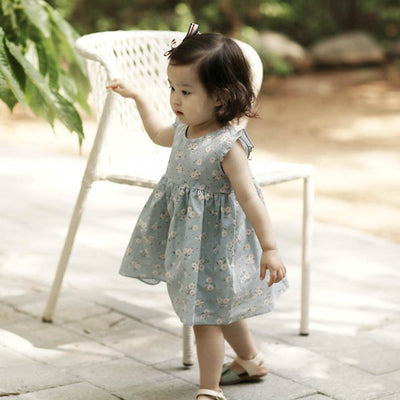 Blue Flower Sky Blue Dress - Arim Closet, Carried by Kids Edition, Vancouver, Canada