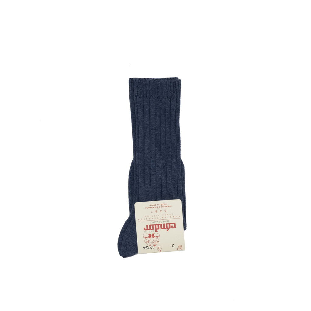 Basic Rib Knee-High Socks - Blue