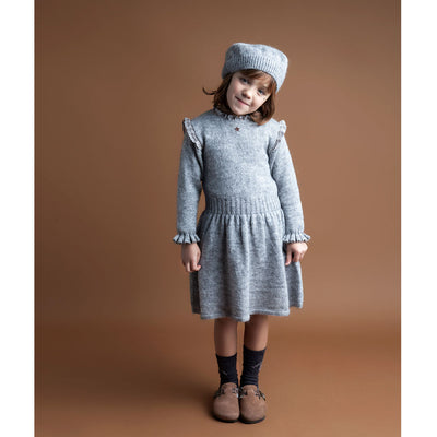 Knitted Elastic Waistband Dress - Grey - Kids Edition