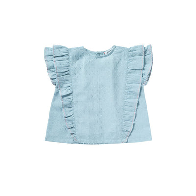 Blue Chuppa Blouse - Bonheur Du Jour,  a designer children clothing brand based in Tourcoing, France. Carried by Kids Edition, the best online designer children clothing boutique based in Vancouver, Canada.