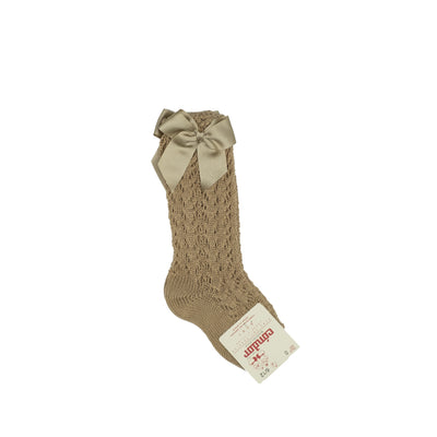 Cotton Openwork Knee-High Socks With Bow - Camel