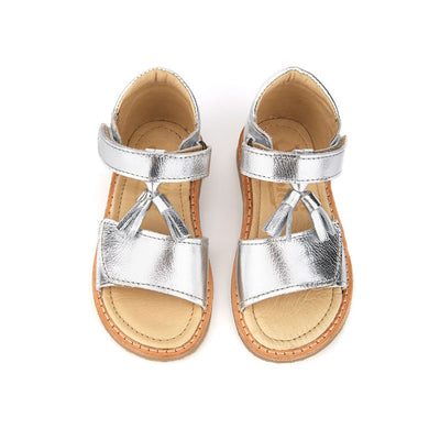 Flo Silver Leather - Young Soles,  a designer children shoes and accessories brand based in London, UK. Carried by Kids Edition, the best online designer children clothing boutique based in Vancouver, Canada.