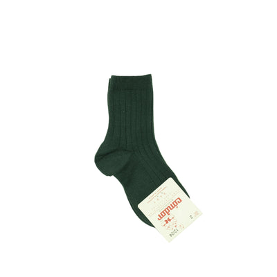 Basic Wide Rib Short Socks - Green