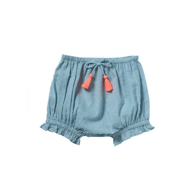 Blue Leonie Shorts - Bonheur Du Jour,  a designer children clothing brand based in Tourcoing, France. Carried by Kids Edition, the best online designer children clothing boutique based in Vancouver, Canada.