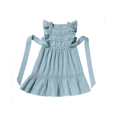 Blue Grey Louisiane Dress - Bonheur Du Jour,  a designer children clothing brand based in Tourcoing, France. Carried by Kids Edition, the best online designer children clothing boutique based in Vancouver, Canada.