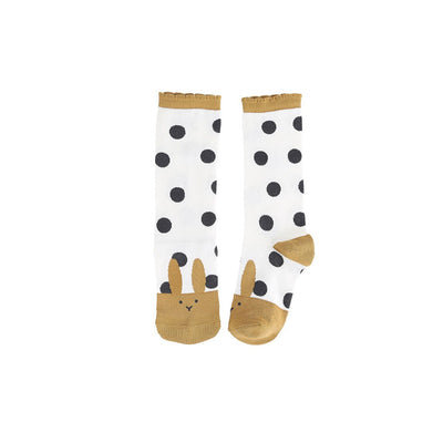 Curry Dot Rabbit Socks - Kids Edition
