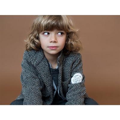 Herringbone Pattern Coat with Tiger Patch On Arm - Kids Edition