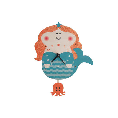 Mermaid Pendulum Wall Clock - Kids Edition