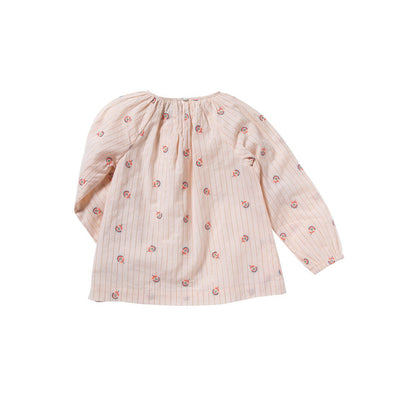 Rainbow Flower Pompon Blouse - Kids Edition