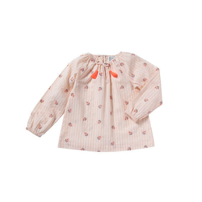 Rainbow Flower Pompon Blouse  - Bonheur Du Jour,  a designer children clothing brand based in Tourcoing, France. Carried by Kids Edition, the best online designer children clothing boutique based in Vancouver, Canada.