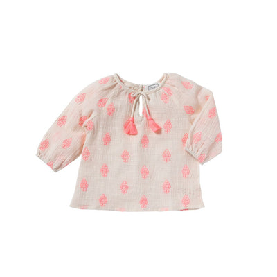 Pink Pompon Flowers Blouse - Bonheur Du Jour,  a designer children clothing brand based in Tourcoing, France. Carried by Kids Edition, the best online designer children clothing boutique based in Vancouver, Canada.