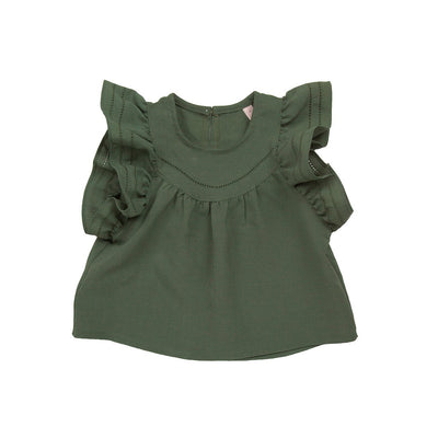 Green Mulla Blouse - Puella Flo, Carried by Kids Edition, Vancouver, Canada