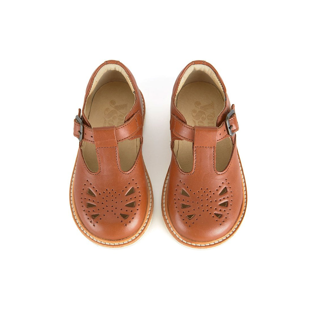 Rosie Chestnut Brown Leather - Young Soles,  a designer children shoes and accessories brand based in London, UK. Carried by Kids Edition, the best online designer children clothing boutique based in Vancouver, Canada.