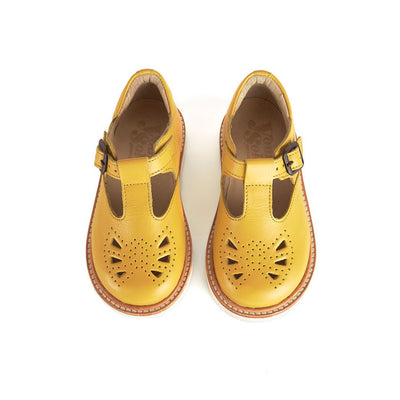 Rosie Yellow Leather - Young Soles,  a designer children shoes and accessories brand based in London, UK. Carried by Kids Edition, the best online designer children clothing boutique based in Vancouver, Canada.