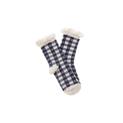 Short Vichy Squares Socks - Navy - Tocoto Vintage,  a vintage style designer children clothing brand based in Barcelona, Spain. Carried by Kids Edition, the best online designer children clothing boutique based in Vancouver, Canada.
