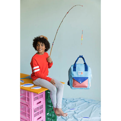 Small Denim Blue Backpack Envelope - Sticky Lemon, Carried by Kids Edition, Vancouver, Canada