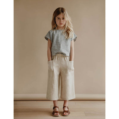 Cecile Culottes - Oatmeal - Petits Vilains,  a designer children shoes and accessories brand based in Barcelona, Spain. Carried by Kids Edition, the best online designer children clothing boutique based in Vancouver, Canada.