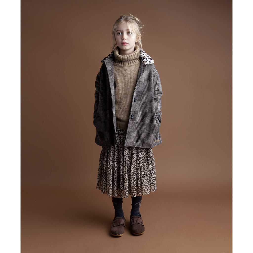 Checkered Coat with Fur Neck - Kids Edition