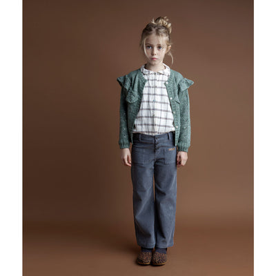 Knitted Cardigan with Openwork On Sleeves And Flounce - Green - Kids Edition