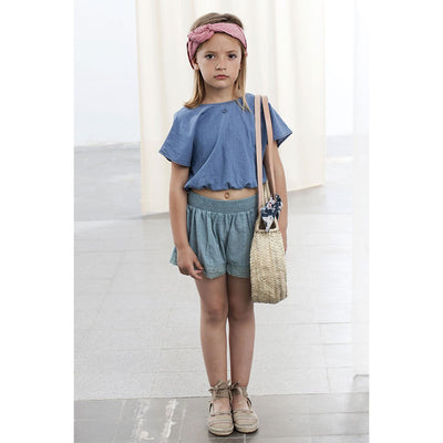 Tie-Back Light Denim Blouse - Tocoto Vintage,  a vintage style designer children clothing brand based in Barcelona, Spain. Carried by Kids Edition, the best online designer children clothing boutique based in Vancouver, Canada.